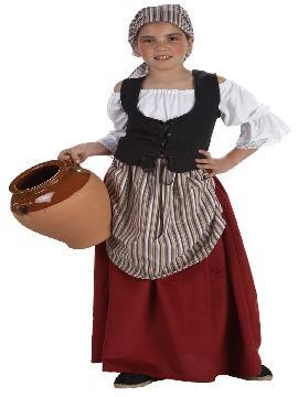 Disfraz mesonera medieval niñas. Para vestir a la pequeña de la casa con este disfraz mesonera infantil,campesina o tabernera en las ferias medievales.Este disfraz es ideal para tus fiestas temáticas de disfraces medievales o época para niñas.