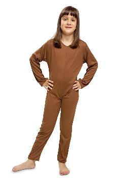 disfraz mono marron oscuro de punto infantil. Al ser un mono entero podrás utilizarla en multitud de ocasiones, para tus disfraces en Fiestas Temáticas y fin de curso.