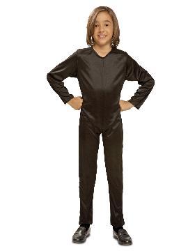 disfraz mono negro de punto infantil. Al ser un mono entero podrás utilizarla en multitud de ocasiones, para tus disfraces en Fiestas Temáticas y fin de curso.