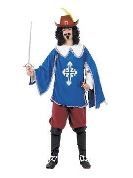 disfraz mosquetero azul clasico hombre