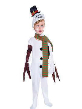 disfraz muñeco de nieve con bufanda infantil