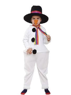 Disfraz de muñeco de nieve infantil. Es ideal para niños y niñas. Hará soñar a los más pequeños en Festivales de Navidad y cabalgatas de reyes. Este disfraz es ideal para tus fiestas temáticas de disfraces de navidad.