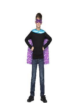 disfraz o capa de super heroe azul para niños