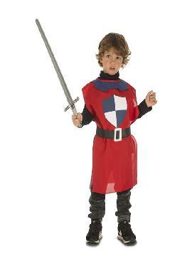 disfraz o peto de guerrero medieval rojo niño