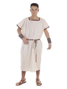 disfraz o tunica beige de romano para hombre