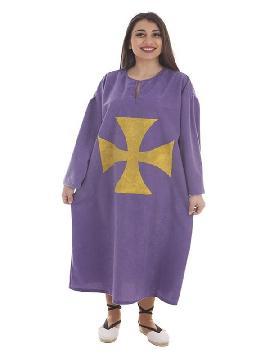 disfraz o tunica purpura con cruz para mujer
