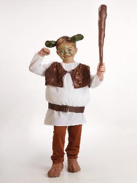 Disfraz ogro shrek para niño infantil. Es perfecto para convertirte en el compañero de Asno en su camino al castillo de Lord Farquaad. Este disfraz es ideal para tus fiestas temáticas de disfraces cuentos populares,famosos y músicos para niños infantiles.