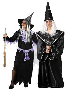 disfraz pareja de brujos hombre y mujer. Este disfraz de halloween es ideal para tus fiestas temáticas de disfraces brujos y miedo para parejas de hombre y mujer.