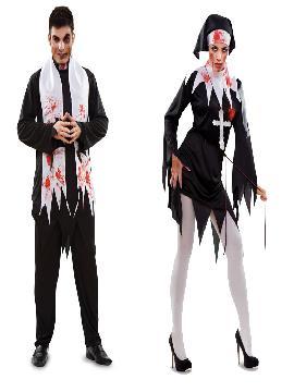 disfraz pareja de religiosos sangriento hombre y mujer.  Lo pasarán de muerte asustando a los pequeños en la noche de Terror y halloween. Este disfraz es ideal para tus fiestas temáticas de religiosos y terror para adulto
