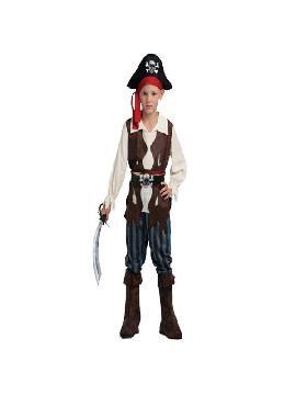 Disfraz pirata caribeño azul niño. Acompaña a Barba Negra en las aventuras acompañando a los corsarios más divertidos en Fiestas Temáticas, Cumpleaños. Este disfraz es ideal para tus fiestas temáticas de piratas y corsarios para infantil.