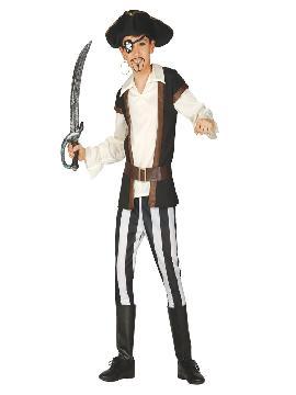 Disfraz pirata corsario niño. Los más pequeños de la familia se convertirán en auténticos bucaneros y se divertirán viviendo mil aventuras con sus amigas en Fiestas de la Guardería. Este disfraz es ideal para tus fiestas temáticas de piratas y corsarios para infantil.