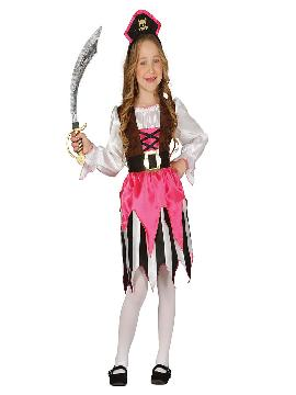Disfraz de pirata rosa niña infantil. Acompaña a Barba Negra en las aventuras acompañando a los corsarios más divertidos en Fiestas Temáticas, Cumpleaños. Este disfraz es ideal para tus fiestas temáticas de piratas y corsarios para infantil.