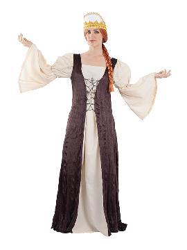 disfraz reina de castilla medieval mujer. Te transformará en una auténtica protagonista de la época Medieval con este disfraz de reina castilla. Este traje es ideal para tus fiestas temáticas de disfraces epoca y medievales para la edad media de mujer adultos.