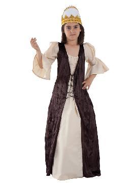 Disfraz Reina de castilla niña infantil. Es ideal para las ferias y mercados medievales o para lucir en Carnavales. Podrás vestir a la pequeña de la casa de doncella, modelo inspirado en las Damas de cuento de la Edad Media. fabricación nacional infantil