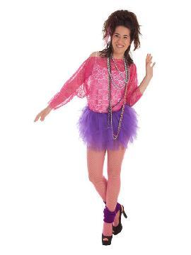 disfraz retro años 80 fuxia para mujer