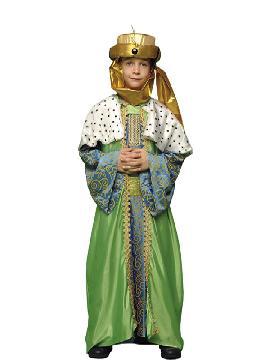 Disfraz rey mago Gaspar niño. Es perfecto para celebraciones navideñas, tales como belenes vivientes,desfiles o las tradicionales representaciones escolares.Este disfraz es ideal para tus fiestas temáticas de disfraces reyes magos para niños.