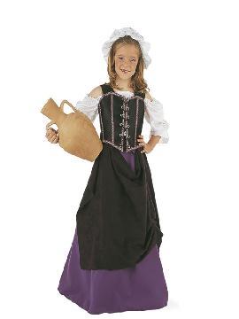 disfraz tabernera medieval lila niña