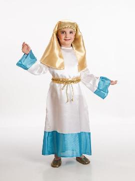 Disfraz virgen maría para niñas. resulta perfecto para representar al mítico personaje histórico religioso en los Belenes o Nacimientos Vivientes.Este disfraz es ideal para tus fiestas temáticas de disfraces de navidad.
