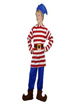 disfraz de enanito rayas infantiles. Este comodísimo traje es perfecto para carnavales, espectáculos, cumpleaños.Este disfraz es ideal para tus fiestas temáticas de disfraces cuentos populares,famosos y musicos para niños infantiles.