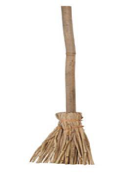 escoba bruja con palo de caña y paja 90 cm