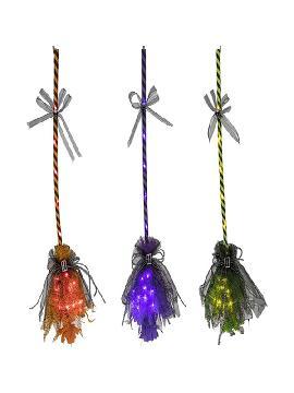 escoba de bruja con luz en varios colores 16x90 cm