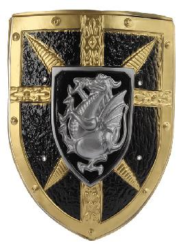 escudo dragon con relieves en oro y gris 40x33 cm