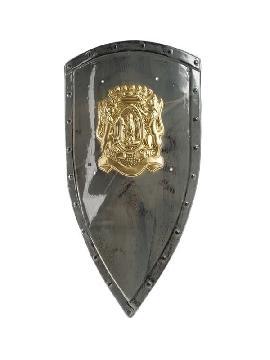 escudo medieval gris pvc 77x44cm