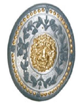escudo romano color plata de 49 cm