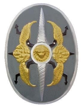 escudo romano con relieve oro y plata 58x40 cm