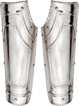 espinilleras de  metal medieval