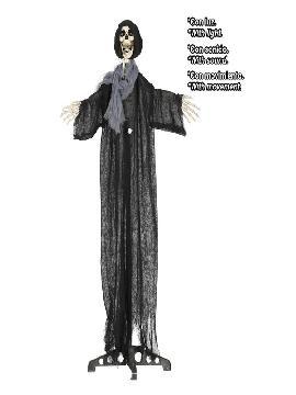esqueleto con capucha luz sonido y movimiento 125 cms