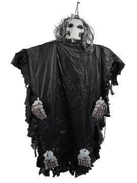 esqueleto negro colgante pelo cabeza 115 cm