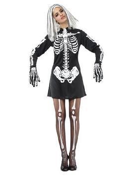 disfraz esqueleto con vestido para mujer
