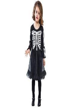 disfraz esqueleto con falta tul niña
