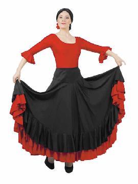falda de andaluza negra y roja para mujer