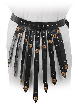 falda de romano con tiras de piel