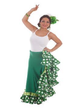 falda de sevillana verde con topos para mujer