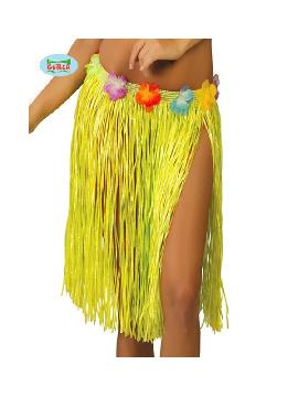 falda hawaiana flores 45 cms amarillo