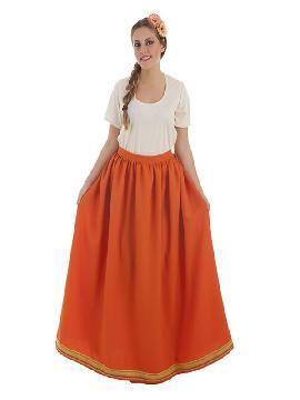 falda medieval naranja para mujer