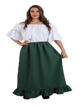 falda medieval verde mujer talla 48