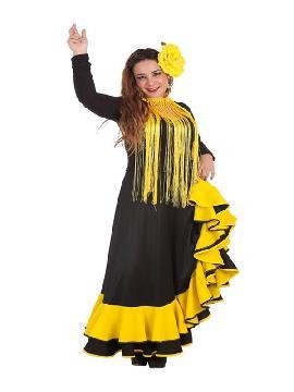 falda rociera o flamenca amarilla para mujer