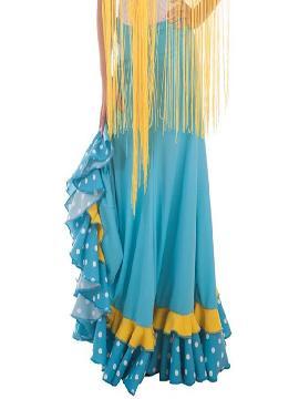 falda sevillana azul con topos para mujer
