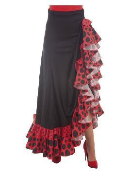 falda sevillana negra y roja con topos mujer