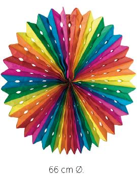 12 farolillos abanicos de colores 66 cm
