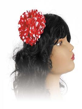flor para el pelo negro y rojo andaluza