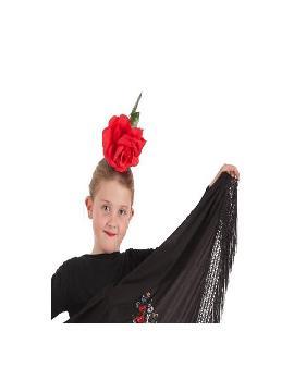 flor roja para la cabeza niña
