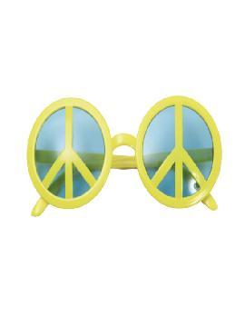 gafas con simbolo de la paz amarillas