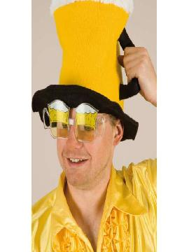 gafa con jarras de cerveza amarillas