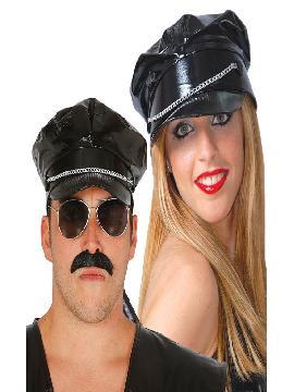 gorra de motero vinilo negra adulto