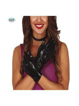 guantes cortos metalizados negros 22 cms